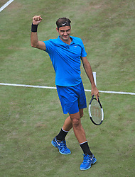 STUTTGART, June 17, 2018  Roger Federer of Switzerland celebrates after the singles final against Milos Raonic of Canada at ATP Mercedes Cup tennis tournament in Stuttgart, Germany on June 17, 2018. Roger Federer won 2-0 to claim the title. (Credit Image: © Philippe Ruiz/Xinhua via ZUMA Wire)
