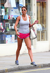 TV presenter Melanie Sykes out and about in London.  The super fit 43-year-old was wearing a grey vest top, pink sport shorts and trainers, was spotted sprinting across the road, which revealed some loose skin on her legs when she ran. Recently the mother-of-two was revealed the new face of Ultimo Adore Moi range. UK. 23/8/2013<br />BYLINE MUST READ : JAMESY/GOTCHA IMAGES<br /><br />Copyright by © Gotcha Images Ltd. All rights reserved.<br />Usage of this image is conditional upon the acceptance <br />of Gotcha Images Ltd, terms and conditions available at<br />www.gotchaimages.com