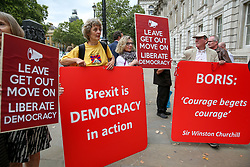 © Licensed to London News Pictures. 03/009/2019. London, UK. Pro-Brexit supporters with placards protest outside Cabinet Office. MPs return to Westminster for a no deal  showdown that could result in a snap election. Photo credit: Dinendra Haria/LNP