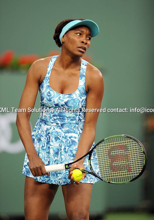 11 March 2016: Playing in her first match in Indian Wells since 2001 Venus Williams (USA) prepare to serve during a match against Kurumi Nara (JPN) during the BNP Paribas Open played at the Indian Wells Tennis Garden in Indian Wells, CA. (Photo By John Cordes/Icon Sportswire)