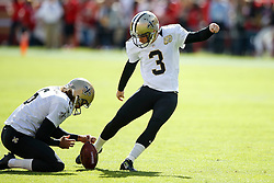 SANTA CLARA, CA - NOVEMBER 06: Kicker Wil Lutz #3 of the New Orleans Saints warms up before the game against the San Francisco 49ers at Levi's Stadium on November 6, 2016 in Santa Clara, California. The New Orleans Saints defeated the San Francisco 49ers 41-23. (Photo by Jason O. Watson/Getty Images) *** Local Caption *** Wil Lutz
