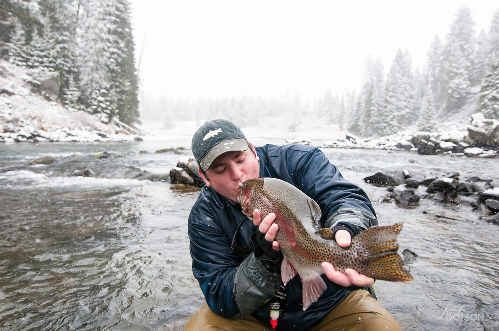 Monster fish landed during first snow of the season on Henry's Fork Box Canyon. 25.75 inches of pure love.