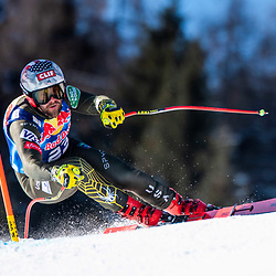 Travis Ganong of United States of America at the Ski Alpin: 80. Hahnenkamm Race 2020 - Audi FIS Alpine Ski World Cup - Men's Downhill Training at the Streif on January 22, 2020 in Kitzbuehel, AUSTRIA. (Photo by Horst Ettensberger/ESPA/CSM/Sipa USA) - Kitzbuhel (Autriche)
