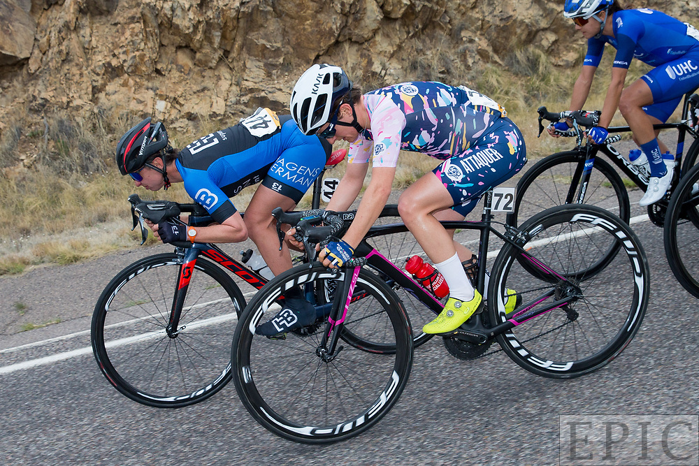 SILVERY CITY, NM - APRIL 19: Liza Rachetto (Hagens Berman/Supermint) and Valentina Scandolara (Roxsolt Attaquer) descend during stage 2 of the Tour of The Gila on April 19, 2018 in Silver City, New Mexico. (Photo by Jonathan Devich/Epicimages.us)
