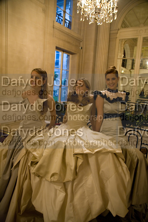ANNA HESKETH; VIOLET HESKETH. ENYAT YOUNES. The 2008 Crillon Debutante Ball. Getting Ready the Day before. Crillon Hotel. Paris. 29 November 2008. *** Local Caption *** -DO NOT ARCHIVE-© Copyright Photograph by Dafydd Jones. 248 Clapham Rd. London SW9 0PZ. Tel 0207 820 0771. www.dafjones.com.