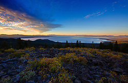 A beautiful brisk colorful sunset over Lake Tahoe