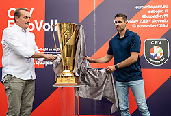 OZS President Metod Ropret and Slovenian EuroVolley Ambassador Tomislav Šmuc presented a glittering gold-plated EuroVolley trophy with 99 days to go and 99 Mini Volleyball courts were available in Ljubljana downtown to promote the CEV EuroVolley 2019 Men, on June 5th, 2019, in front of the Town Hall, Ljubljana, Slovenia. Photo by Vid Ponikvar / Sportida