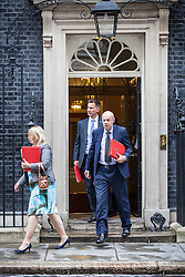 © Licensed to London News Pictures. 02/08/2016. London, UK. Secretary of State for Culture, Media and Sport Karen Bradley (L), Secretary of State for Work and Pensions Damian Green (R) and Secretary of State for Health Jeremy Hunt (background) leave Downing Street after a meeting of the Cabinet Committee on Economy and Industrial Strategy. Photo credit: Rob Pinney/LNP