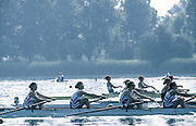 Milan ITALY,  GBR BW4- Alison ANDREWS,  Claire VINCENT, <br /> Sarah WELCH and Alison, moving of the start at the 1997 Nations Cup U23  World Rowing Championships. Course, Idra Scala 1997 U23 Nations Cup U23 Championships. Milan Italy