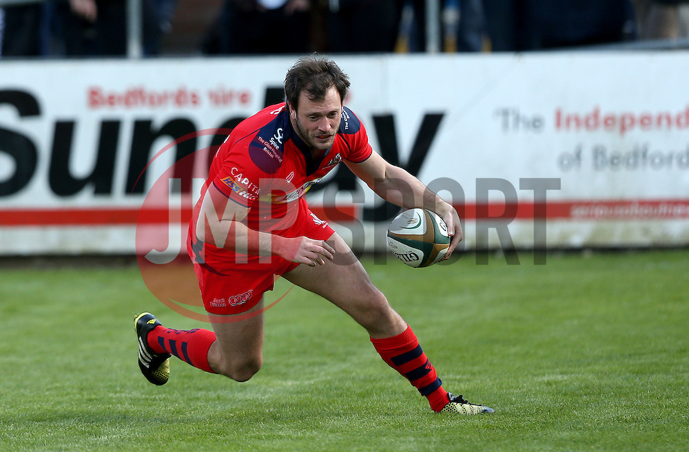 Ben Mosses replacement for Bristol Rugby scores a try - Mandatory by-line: Robbie Stephenson/JMP - 23/04/2016 - RUGBY - Goldrington Road - Bedford, England - Bedford Blues v Bristol Rugby - Greene King IPA Championship