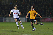 Newport  Mickey Demetriou (28) clears the ball during the The FA Cup 4th round match between Newport County and Tottenham Hotspur at Rodney Parade, Newport, Wales on 27 January 2018. Photo by Gary Learmonth.