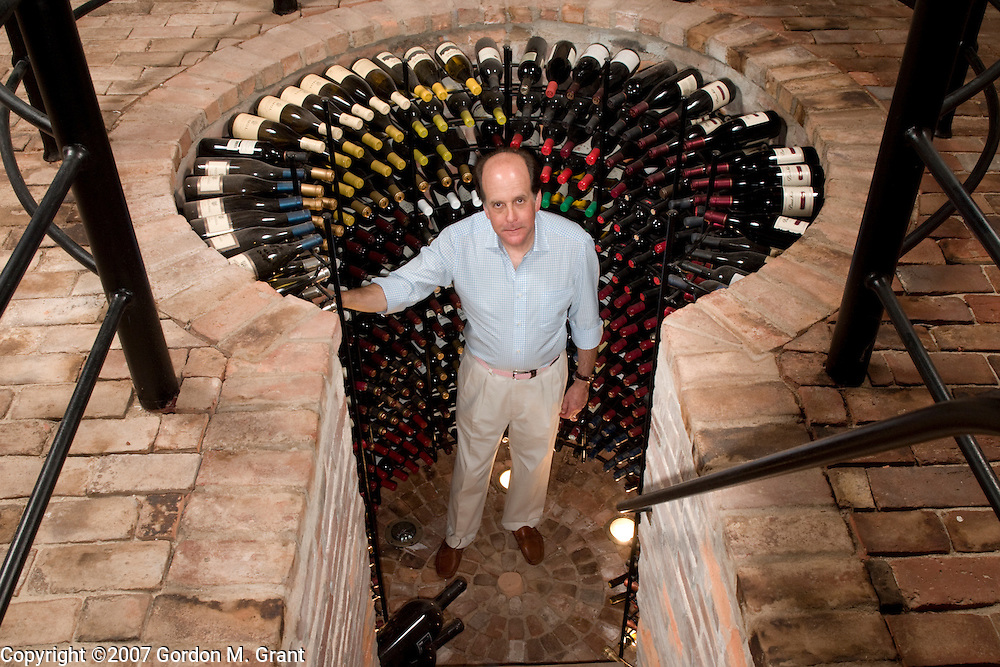 Sag Harbor, NY - 8/26/07 -  Richard Perlman in his wine cellar at his home in Sag Harbor, NY August 26, 2007.    (Photo by Gordon M. Grant)   ALL RIGHTS RESERVED. ONE TIME USE. NO REPRINTS.