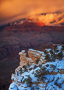 A winter storm on Brahma and Zoroaster temples. From Yavapai Point on the South Rim of Grand Canyon National Park in Arizona.