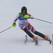 Winter Olympics, Vancouver, 2010.Reinfried Moelgg, Austria, in action during the Alpine Skiing, Men's Slalom at Whistler Creekside, Whistler, during the Vancouver Winter Olympics. 27th February 2010. Photo Tim Clayton