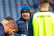 Edinburgh Rugby head coach, Richard Cockerill speaks to his forwards before the European Rugby Challenge Cup match between Edinburgh Rugby and SU Agen at BT Murrayfield, Edinburgh, Scotland on 18 January 2020.