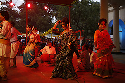 "November 10, 2018 - Dhaka, Bangladesh - A group of Artists performing ""Kushan Gaan"" an indigenous performing art from performing on Dhaka Lit Fest (an annual literary festival) near the Burdwan house of Bangla Academy, this type genre as an aesthetically rich ritualistic once very  popular practice which occasionally  perform in the North Bengal region. (Credit Image: © MD Mehedi Hasan/ZUMA Wire)"
