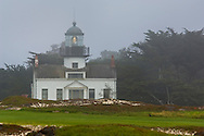 Point Pinos Lighthouse in fog, Pacific Grove, Monterey Peninsula, California