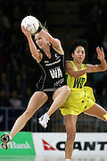 New Zealand captain Adine Wilson and Australian Wing Defense Selina Gilsenan. Australia won the match 53-46.<br /> New Zealand v Australia.<br /> International Netball.<br /> Vector Arena, Auckland, New Zealand.<br /> Wednesday 18  July 2007.<br /> Photo: Andrew Cornaga/PHOTOSPORT