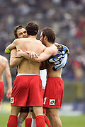 Alexandre Frey and Gilardino embrace. Fiorentina during the Serie A match between Atalanta and Fiorentina at the Stadio in Bergamo, Italy