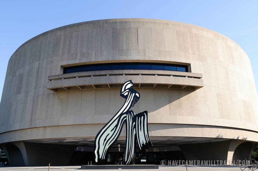 Smithsonian Institution's Hirshhorn Museum and Sculpture Garden. The sculpture is Brushstroke by Roy Lichtenstein.