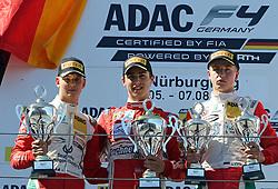 Mick Schumacher, Thomas Preining und Juri Vips auf dem Podium beim ADAC Formel 4 Rennen am Nürburgring / 070816<br /> <br /> *** ADAC Formula 4 2016 on August 7, 2016 at Nurburgring, Germany ***