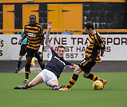 Dundee&rsquo;s Kevin Holt tackles Alloa Athletic&rsquo;s Kevin Cawley - Alloa Athletic v Dundee, pre-season friendly at Recreation Park, Alloa<br /> <br />  - &copy; David Young - www.davidyoungphoto.co.uk - email: davidyoungphoto@gmail.com