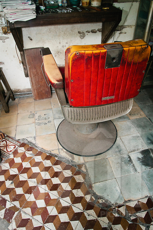 Chair at an old barber shop in Hanoi, Vietnam, Asia