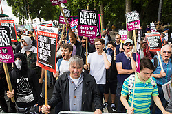 "© Licensed to London News Pictures . 24/06/2017. London, UK. Anti fascists on Embankment . The English Defence League ( EDL ) hold a March on Parliament , from Charing Cross to Victoria Embankment , opposed by  a counter demonstration by Unite Against Fascism . Scotland Yard said it was using public order laws to restrict the marches ""due to concerns of serious public disorder, and disruption to the community"" following terrorist attacks in Manchester , Westminster and Finsbury Park and the Grenfell Tower fire  . Photo credit: Joel Goodman/LNP"
