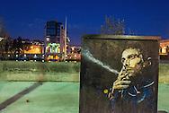 Paris. mural art on quay d'Austerlitz. art mural sur le quai d'Austerlitz