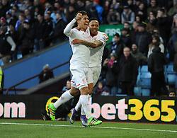Nathaniel Clyne of Liverpool celebrates with Roberto Firmino of Liverpool  - Mandatory byline: Alex James/JMP - 14/02/2016 - FOOTBALL - Villa Park - Birmingham, England - Aston Villa v Liverpool - Barclays Premier League