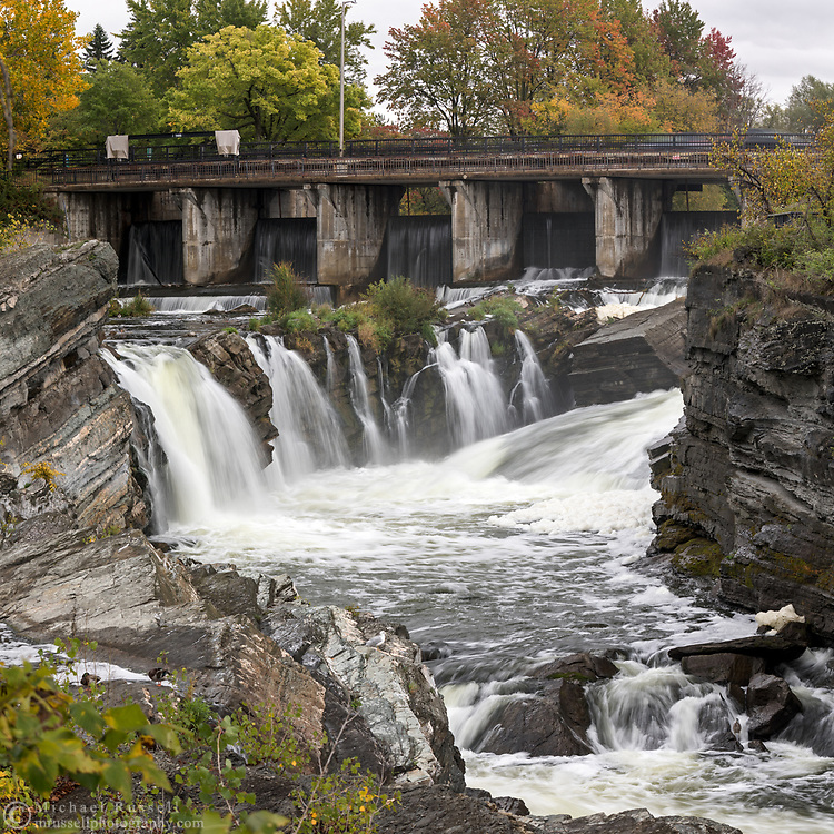 Hog's Back Falls, the Rideau River and the Hog's Back Bridge in Ottawa, Ontario, Canada.  Photographed from Hog's Back Park.