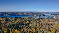 United States, Washington, Bellevue and Lake Washington (aerial view)