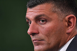 October 13, 2017 - Brisbane, QUEENSLAND, AUSTRALIA - Brisbane Roar coach John Aloisi speaks to the media after his teams loss in the round two A-League match between the Brisbane Roar and Adelaide United at Suncorp Stadium on October 13, 2017 in Brisbane, Australia. (Credit Image: © Albert Perez via ZUMA Wire)