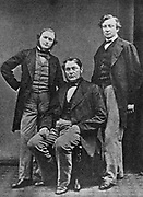 From left to right, chemists and physicists: Kirchhoff, von Bunsen and Roscoe c1860.  Gustave Robert Kirchhoff, German physicist (1824-1887), Robert Wilhelm Eberhard von Bunsen, German Physicist and chemist (1811-1899) and Sir Henry Enfield Roscoe, English Chemist, (1833-1915). From 'History of Chemistry', by Edward Thorpe. (London, 1910).