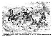"""Farmer (in cart). """"Hi, stop! Stop, you fool! Don't you see my horse is running away?"""" Driver of motor-car (hired by the hour). """"Yes, it's all very well for you to say 'stop' but I've forgotten how the blooming thing works!"""""""
