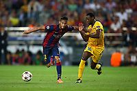 Neymar Jr of FC Barcelona duels for the ball with Vinicius of Apoel FC during the UEFA Champions League, Group F, football match between FC Barcelona and Apoel FC on September 17, 2014 at Camp Nou stadium in Barcelona, Spain. Photo Manuel Blondeau / AOP.Press / DPPI