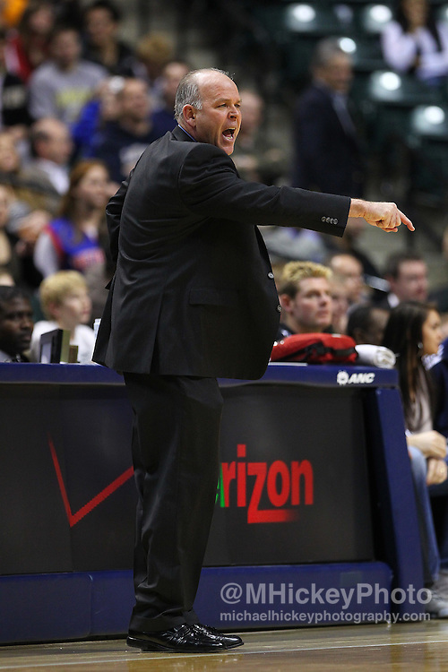 Feb. 23, 2011; Indianapolis, IN, USA; Detroit Pistons head coach John Kuester protests a call against the Indiana Pacers at Conseco Fieldhouse. Indiana defeated Detroit 102-101. Mandatory credit: Michael Hickey-US PRESSWIRE