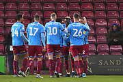 Scunthorpe united celebrate goal scored by Scunthorpe United player Abo Eisa (30) to go 1-0 during the EFL Sky Bet League 2 match between Scunthorpe United and Colchester United at Glanford Park, Scunthorpe, England on 14 December 2019.