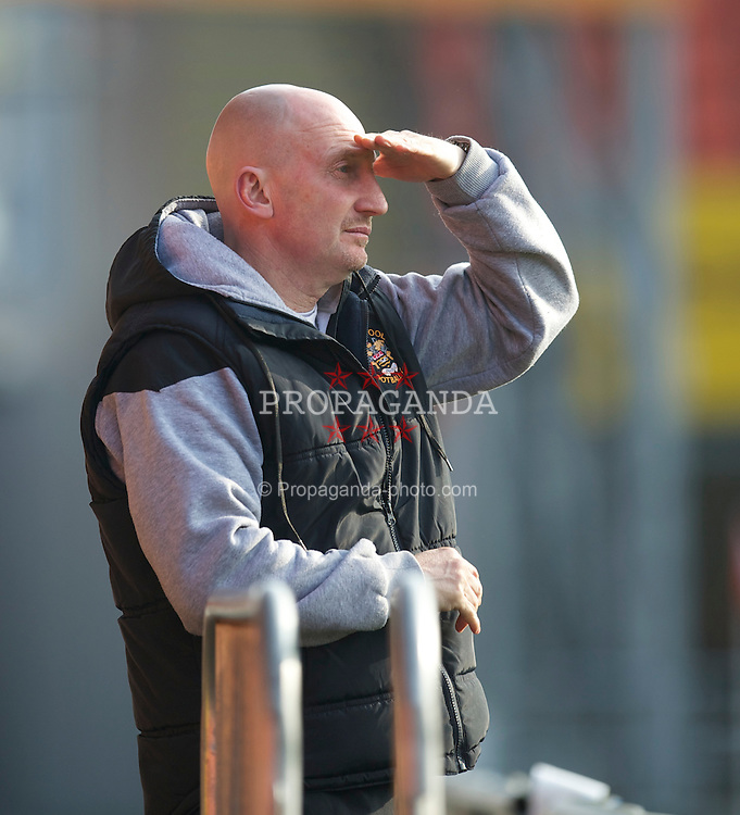 BLACKPOOL, ENGLAND - Wednesday, March 3, 2011: Blackpool's manager Ian Holloway watches his reserve side beat Liverpool 2-1 during the FA Premiership Reserves League (Northern Division) match at Bloomfield Road. (Photo by David Rawcliffe/Propaganda)