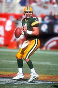 Green Bay Packers quarterback Brett Favre (4) throws the ball during an NFL football game against the Arizona Cardinals, Sunday, Sept. 24, 2000, in Tempe, Ariz. The Packers defeated the Cardinals 29-3.