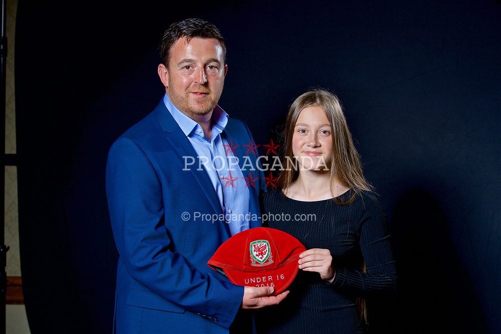 NEWPORT, WALES - Saturday, May 27, 2017: Celyn Davies and her family with her Under-16 Wales cap at the Celtic Manor Resort. (Pic by David Rawcliffe/Propaganda)
