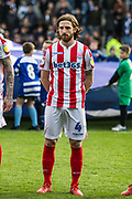 Joe Allen (Stoke) coming out onto the pitch ahead of the EFL Sky Bet Championship match between Queens Park Rangers and Stoke City at the Loftus Road Stadium, London, England on 9 March 2019.