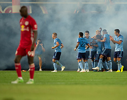 July 8, 2018 - Bronx, New York, United States - New York City celebrates a late goal by New York City midfielder MAXIMILIANO MORALEZ (10) during a regular season match at Yankee Stadium in Bronx, NY.  New York City FC defeats the New York Red Bulls 1 to 0 (Credit Image: © Mark Smith via ZUMA Wire)