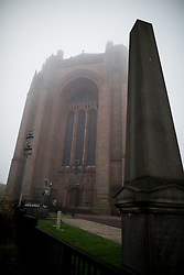 © Licensed to London News Pictures . 02/11/2015 . Liverpool , UK . Liverpool Cathedral in the fog . The funeral of Police Constable Dave Phillips , at Liverpool Cathedral . Five people are charged in connection with his death , including Clayton Williams , 18 , from Wallasey , who is charged with murder . Photo credit: Joel Goodman/LNP
