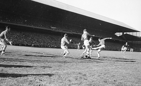 Cork forward Mick White with the ball at his feet during the All Ireland Senior Gaelic Football Final Cork v. Meath in Croke Park on the 24th September 1967. Meath 1-9 Cork 0-9.