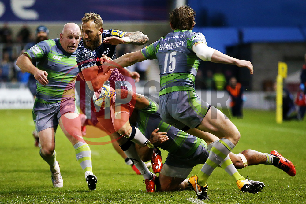 Byron McGuigan of Sale Sharks takes on Joel Hodgson of Newcastle Falcons - Mandatory by-line: Matt McNulty/JMP - 08/09/2017 - RUGBY - AJ Bell Stadium - Sale, England - Sale Sharks v Newcastle Falcons - Aviva Premiership