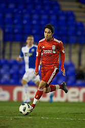 BIRKHENHEAD, ENGLAND - Monday, February 28, 2011: Liverpool's Gerardo Alfredo Bruna Blanco in action against Blackburn Rovers during the FA Premiership Reserves League (Northern Division) match at Prenton Park. (Photo by David Rawcliffe/Propaganda)