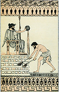 Croesus, last king of Lydia from c560 BC. Defeated and imprisoned by Cyrus the Great 546 BC. Legend has it that Croesus was put on funeral pyre and when fire took hold he called on Apollo for help and rain fell,  putting out fire. Lithograph after image on Greek vase.