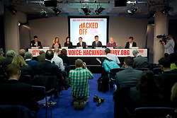 © Licensed to London News Pictures. 29/11/2012. London, UK. Members of the campaign group 'Hacked Off' are seen at a press conference in London today (29/11/12) called by the group as a reaction to the publishing of the Leveson Inquiry. Photo credit: Matt Cetti-Roberts/LNP