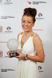 CARDIFF, WALES - Monday, October 6, 2014: Wales' Women's Young Player of the Year 2014 Angharad James with her trophy at the FAW Footballer of the Year Awards 2014 held at the St. David's Hotel. (Pic by David Rawcliffe/Propaganda)